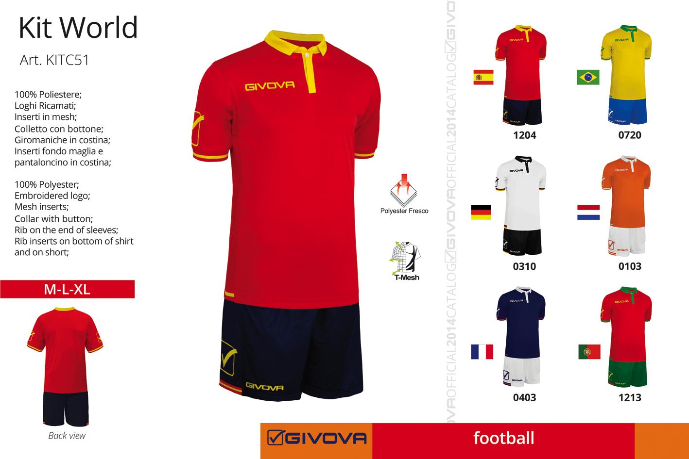 Completi Calcio KIT WORLD GIVOVA (maglia M/C pant.) 6 Colori NAZIONALI DI CALCIO