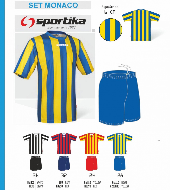 Completo Calcio Manica Corta SPORTIKA (Maglia MONACO Pant. LASER)