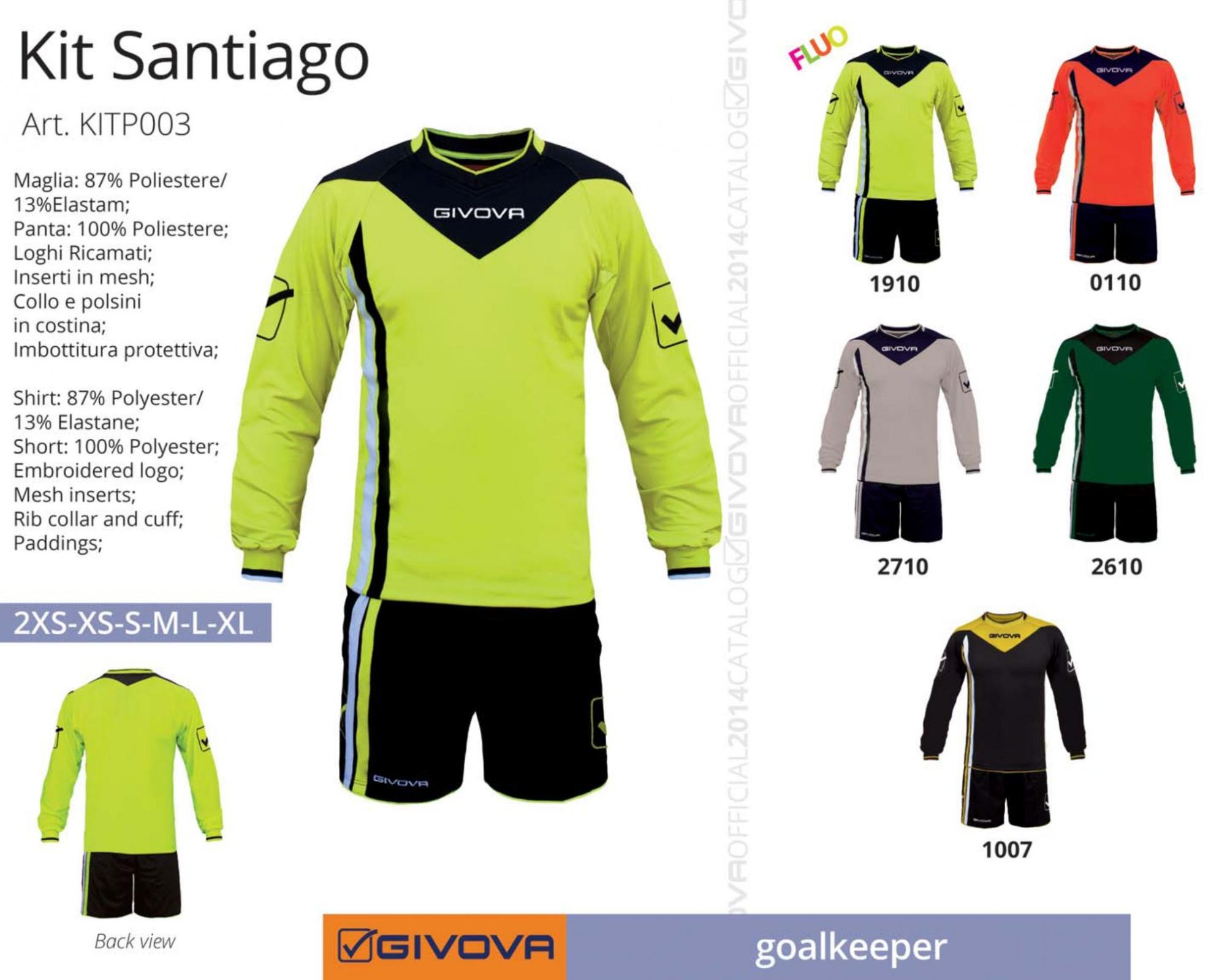 Completo-Calcio-Portiere-KIT-SANTIAGO-GIVOVA-con-Imbottitura-Calcetto-Futsal miniatura 10