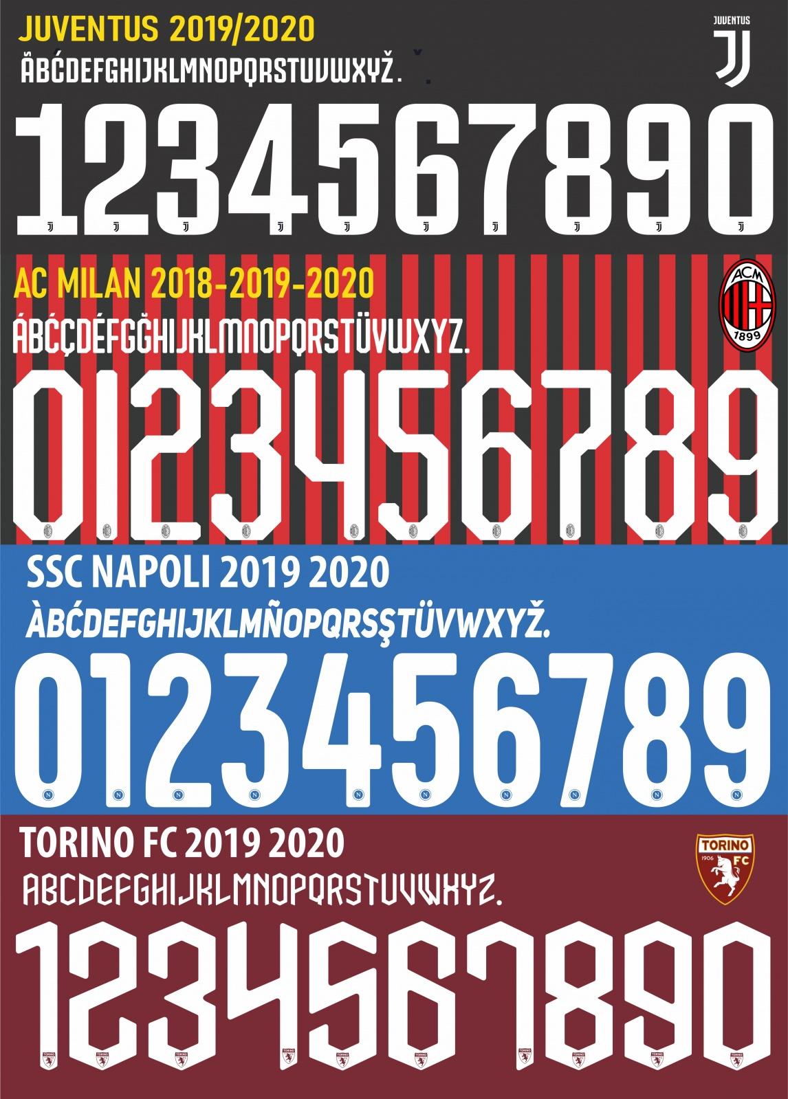 Stampa Numero Nome Giocatori MILAN JUVE NAPOLI TORINO INTER REAL ...